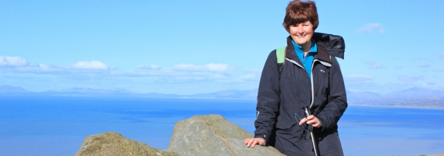 20 Ruth Livingstone with Lleyn peninsula in background, Wales coast