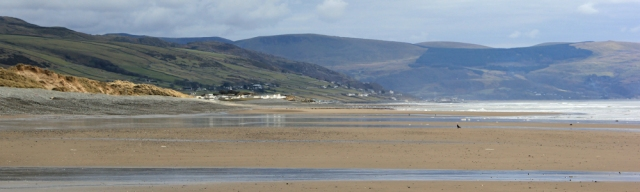 looking back to Barmouth, Ruth on the Wales Coast Path