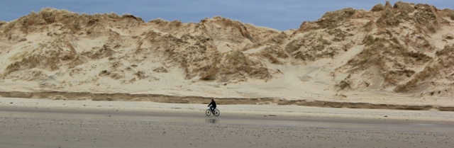 cyclist on beach, Ruth Livingstone