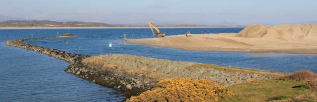 23 sand moving, mouth of Pwllheli harbour, Ruth walking the coast path, Wales