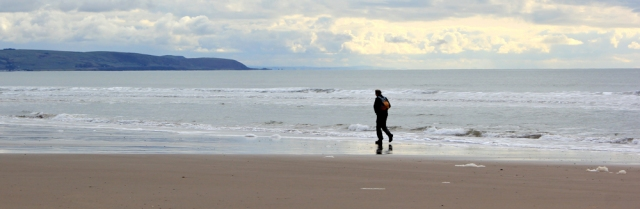 walker on the sands, Morfa Dyffryn, Ruth hiking in Wales