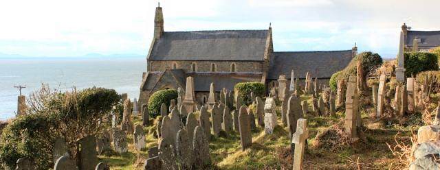 30 Llanber church, Ruth walking the Wales Coast Path, Barmouth Bay