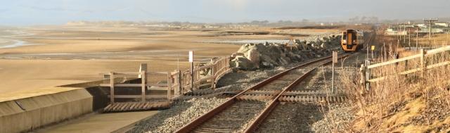 32 train approaching Llanaber Station, Ruth's coastal walk around Britain