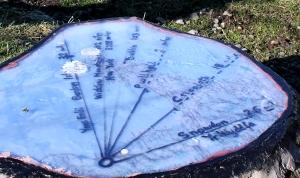 map and waymarks, Ruth's coastal walk, above Fairbourne