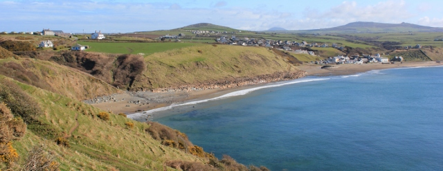 03 looking back to Aberdaron, Ruth walking the Llyn Coastal Path