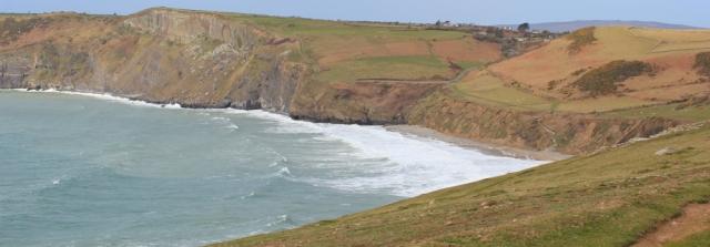 09 Porth Ceiriad, Ruth hiking the coastal path, Llyn Peninsula, Wales