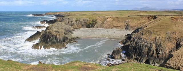 11 Porth Gwylan, Ruth walking the Lleyn coastal path