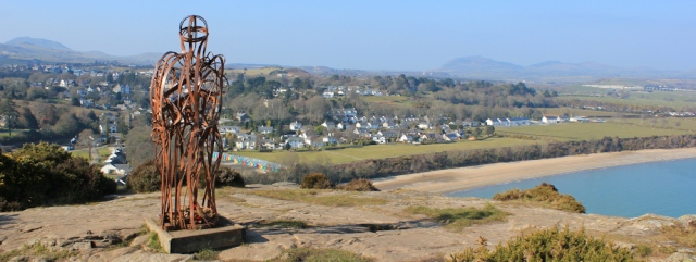 13 metal figure above Plas Glyn y Weddw, Ruth on the Wales Coast Path, Llanbedrog