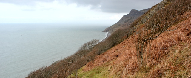 16 down towards Porth y Nant, Ruth hiking the Llyn Peninsula
