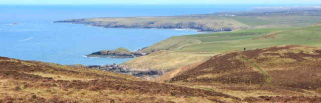18 Down from Mynydd Anelog, Ruth on the Llyn Coastal Path