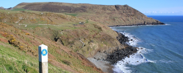 19 looking back to Mynydd Penarfynydd, Ruth on the Llyn Coastal Path, Wales