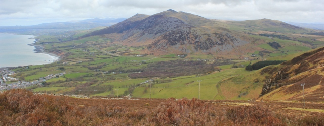 25 looking down to Trefor, Ruth on Yr Eifl, Wales