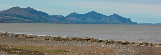 01 Yr Eifl from Dinas Dinlle, Ruth walking the Wales Coast Path