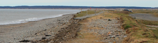03 promenade path washed away, Dinas Dinlle, Ruth on the Llyn coast path