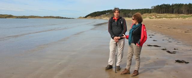 05 Llanddwyn Bay, Ruth walking the coast path in Anglesey