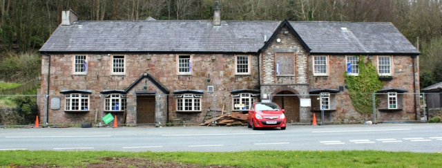 09 another derelict pub, Ruth hiking in Wales