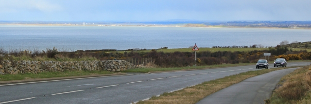 14 A499 towards Caernarfon, Ruth on the Wales Coast Path