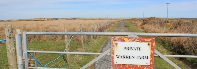 15 locked gate, Warren Farm, Ruth walking to Caernarfon