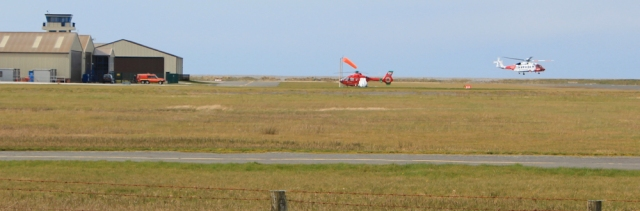 16 hovering helicoptor, Caernarfon airport, Ruth's coastal walk