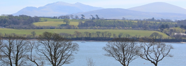 17 Snowdonia over Menai Strait, Ruth hiking in Anglesey