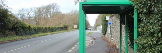 20 bus stop, A499 near Llandwrog, Ruth's coastal walk, Wales