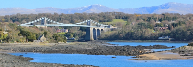 20 Menai Suspension Bridge, Ruth hiking in Anglesey