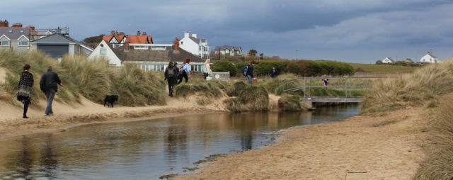 23 bridge into Rhosneigr, Ruth Livingstone walking the coast