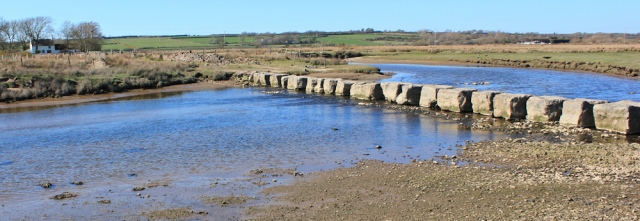 26 stepping stones Gatehouses Ford, Ruth on the Anglesey coastal path