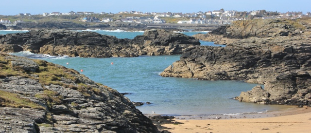 a32 Porth Castell and Porth Diana, Ruth walking to Trearddur Bay
