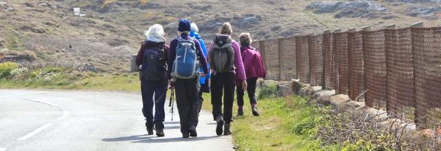 04 roads and ramblers, Ruth walking in Trearddur