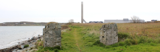 14 aluminium works, Holyhead, Ruth walking the coast