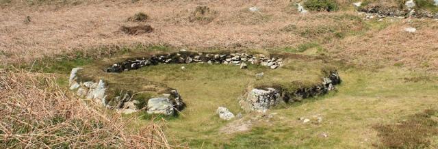 14 hut circles, South Stack, Ruth trekking around Anglesey