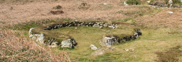 14 hut circles, South Stack, Ruth trekking around Anglesey
