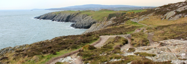 14 Mynydd Pantygaseg, Ruth hiking towards Amlwch