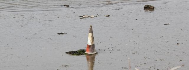 traffic cone, Llangachraeth estuary, Ruth's coastal walk, Anglesey