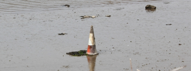 traffic cone, Llangachraeth estuary, Ruth's coastal walk, Anglesey