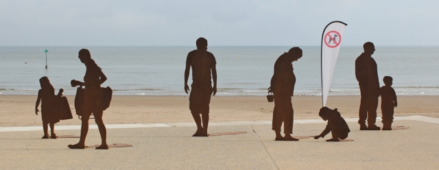 03 metal figures, Colwyn Bay, Ruth's coastal walk