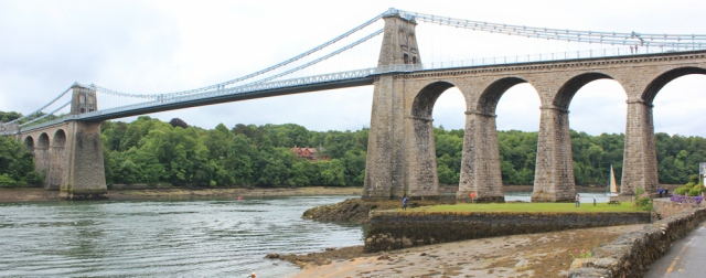 04 Ruth reaches the Menai Suspension Bridge, coastal walking in Wales