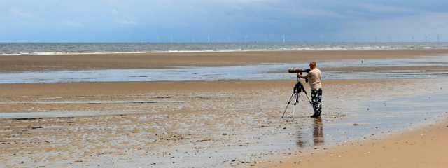 07 bird spotter, Point of Ayr, Ruth hiking North Wales