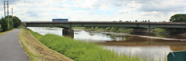 10 A494 road bridge, Ruth walking along the River Dee