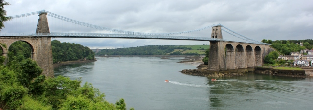 10 last look back at Menai Suspension Bridge, Ruth hiking in Wales
