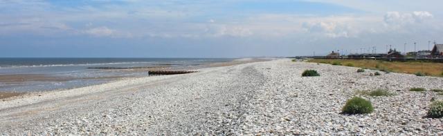 10 shingle beach, Ruth walking to Abergele, North Wales