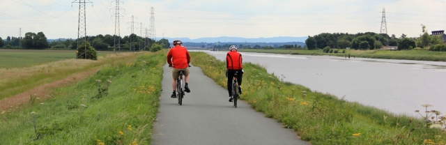 15 cyclists on the Wales Coast Path, River Dee, Ruth's coastal walk
