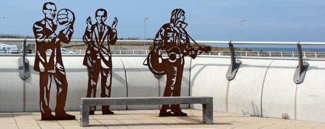 18 metal figures, Rhyl, Ruth's coastal walk, Wales