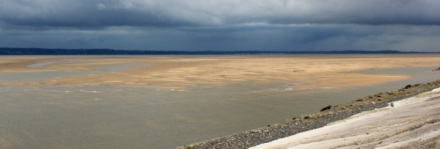 26 rainclouds over River Dee, Ruth walking the Wales Coast Path