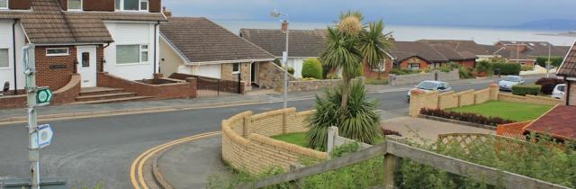 a09 through housing estate, Penrhyn Bay, Ruth's coastal walk, North Wales Path