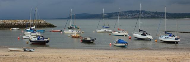 a13 ships inside breakwater, Llandrillo-yn-Rhos, Ruth's coast walk