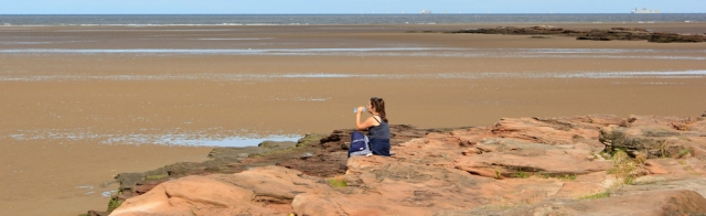 03 Red Rocks, Ruth hiking around the Wirral Peninsula