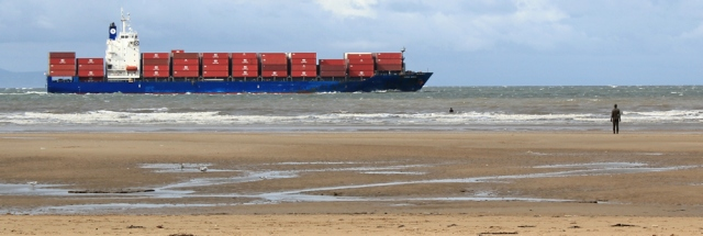 06 Gormely iron men and container ship, Ruth's coastal walk, Sefton
