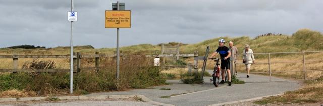 12 Sefton Coastal Footpath, Ruth hiking the shore, Crosby